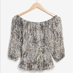 Animal Print Pleated Off The Shoulder Top